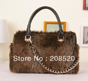 JJ229 free shipping ladies genuine rabbit fur handbag with chain/black yellow khaki