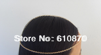 Free shipping New Style Women Gold Metal Head Chain Fashion Head Band Hair accessories Jewelry