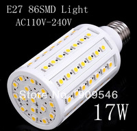 Free Ship dhl LED Corn Light E27/B22/E14 10pcs/lot Engery Saving  5050 86SMD Corn led Bulb light 17W 1600LM Warm White/White