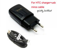 50pcs/lot DHL/EMS Free. EU standard Wall Home Charger & USB Cable for HTC Moblie cellphone 1.2M Micro USB Cable port