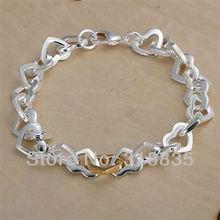 LQ-H077 Free Shipping 925 Silver Bracelet Fashion Jewelry Bracelet  Dichroic Heart Bracelet acoa itva(China (Mainland))