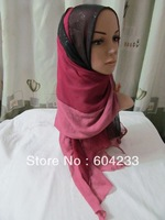 tc203-2012 wholesale fashion muslim scarf,hijab for muslim women 180*48cm,12pcs/dozen,free shipping,assorted colors