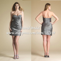 YAG632 Sheath Pleated Taffeta Silver Grey Beaded Sweetheart Cocktail Dress Formal