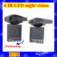 "Factory price!!!Hot Sale In Russian H198 Car DVR  with IR Night Vision 2.5"" TFT LCD 6 IR LED DVR Car free shipping"