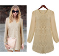 Free shipping!2013 Womens fashion long sleeve sexy dress O neck solid lace casual vintage mini Princess dresses,QN003