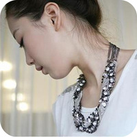 <Min.order $15,can mix models> On0393 Europe metal retro imitation diamond exagggerate clavicle necklace