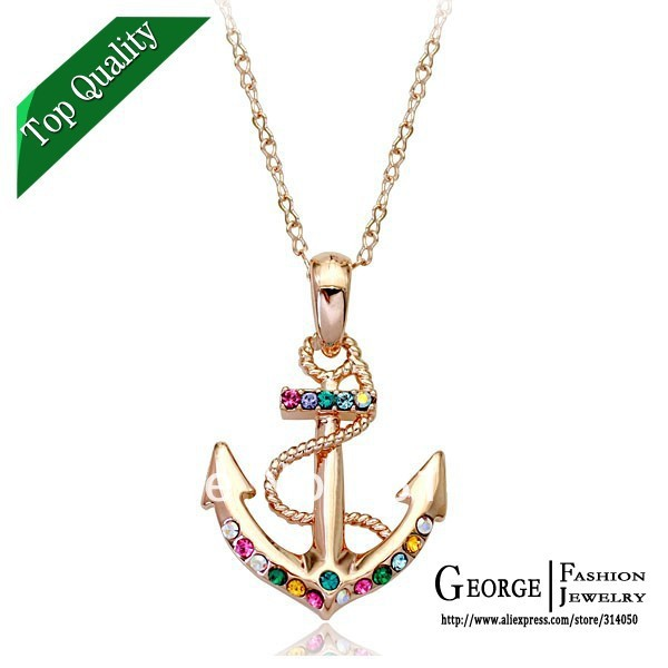 Top Quality 750470036aa anchor multicolor crystal 18K gold Plated necklace Fashion Jewellery Pendant SWA Elements Wholesale(China (Mainland))