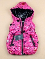 4pcs  babys winter hoody coat letter printing hot pink hoodies babys vest boys girls waistcoat top clothes