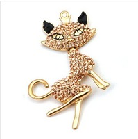 Alloy fox handmade full rhinestone pasted accessories For iPhone part beauty diy phone decoration charm connectors free shipping