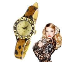 Vintage eternity classic leopard print genuine leather vintage women's watch bracelet watch