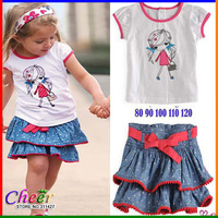 2013 New Girl clothes sets 2 pcs set White short-sleeve T-shirt +denim short  good quality 5sets/1lot