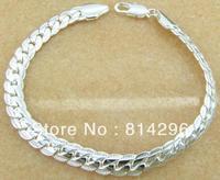 Free  shipping    925 sterling silver jewelry flat snake bone male bracelet