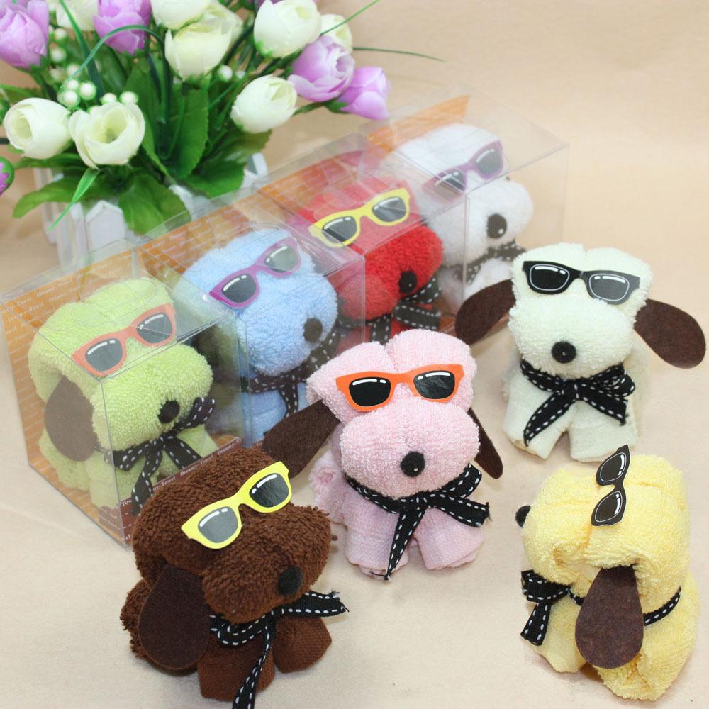 10pcs lot Hot sale glasses dog towel mini gift towel cake