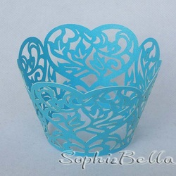 24Pcs W057B (2 Packs) Blue Color decorative lace cupcake wrappers baking wrapers laser cut for Party Favor C(China (Mainland))