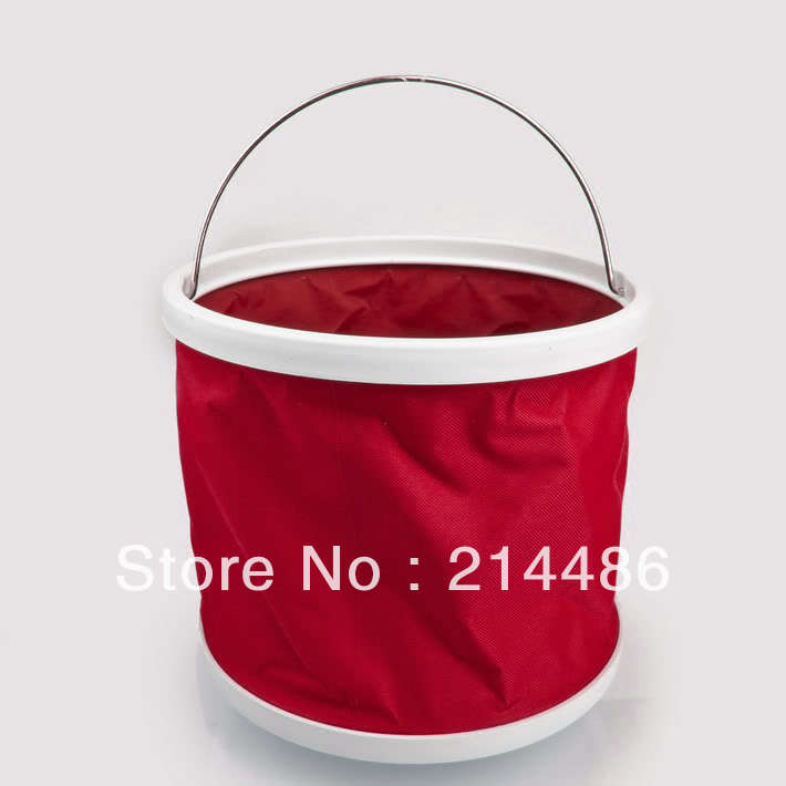 Red Portable Folding Water Bucket Pail 9L for Fishing Hot Selling(China (Mainland))