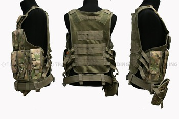 Tactical Zipper Combat VEST with pouches (Multicam) free ship