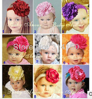 FREE SHIPPING----baby girl's headwear hair bands baby hair jewelry pretty flowers headband many big flowers and colors 1pcs 179