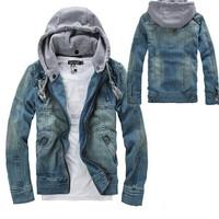 New Men Vintage Cool Denim Hooded Jean Jacket Hoody Coat Detachable Cap 4 Size