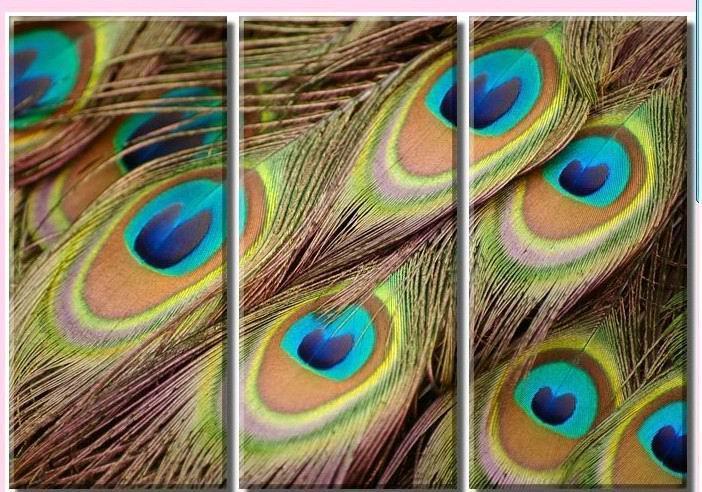 O pavão é pintura a óleo showing>modern do artesanato na lona