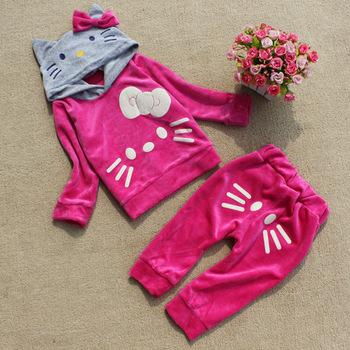Good quality girl's spring autumn clothing set,girl's outware four design hello kitty velvet suits,kids garments,Freeshipping