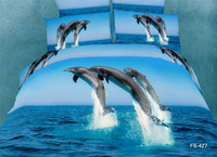 Wholesale,3D oil painting dolphin blue sea animal pattern sky blue cotton duvet comforter cover 4pcs Queen/full bed bedding sets
