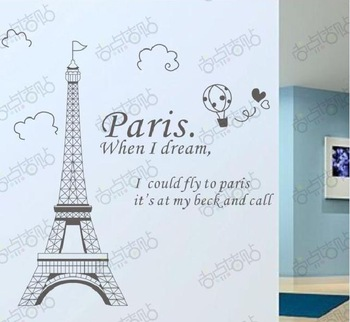 Fashion Paris Eiffel Tower Removable Vinyl Art quotes Wall Sticker DIY  Decoration Decals Drawing Room Decor cartoon kids