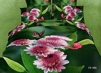 Wholesale,cotton 3D oil painting 4pcs Full/Queen Duvet covers chrysanthemum butterfly green leaves bedding sets + sheet bedlinen