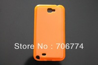 New Arrival Popular Orange Soft Skin TPU Transparent Matte Case for Samsung Galaxy Note II 2 N7100 200pcs/lot  8 Colors