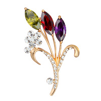 Mewox top zircon quality brooch female flowers