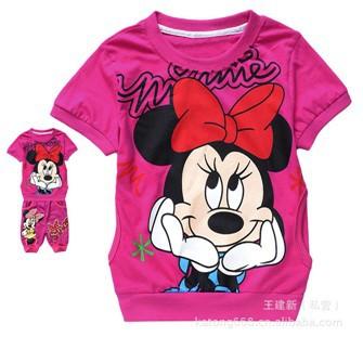 Dos desenhos animados Minnie Mouse crianças roupas set 2 pcs da menina terno do menino com capuz camisas + calças ternos inteiros outfits grátis frete(China (Mainland))
