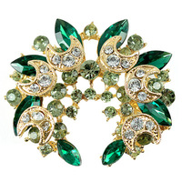 <Min.order $15,can mix models> 3103 luxury full rhinestone gem brooch crystal vintage brooch flower brooch ITALINA badge