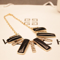 <Min.order $15,can mix models> Korean popular black exaggerate geometry dance club rhinestone female necklace