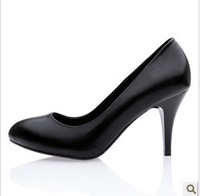 Leather black high-heeled shoes professional OL single shoes is comfortable and graceful joker round head goose bottom