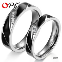 OPK JEWELRY new arrival white crystal setting Couple stainless steel engagement ring cool black style FREE SHIPPING, 322