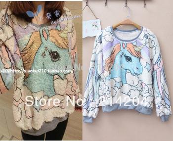 FSJ unicorn cartoon angel horse fleece jumpers sweatshirt women o-neck long sleeve pullover hoodies all match jumpers FEMALE
