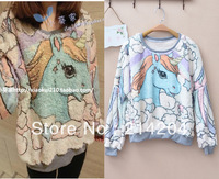 Free Shipping!unicorn cartoon angel horse fleece sweaters sweatshirt women o-neck long sleeve pullover hoodies all match sweater