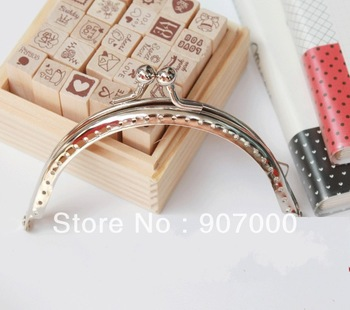 8.5cm silver purse frames with center kiss clasp 20pcs DIY bag metal handles simple style