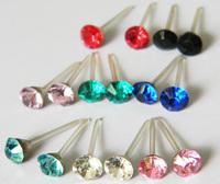 Anti-allergic rhinestone stud earring plastic stick sparkling  stud earring plastic stud earring