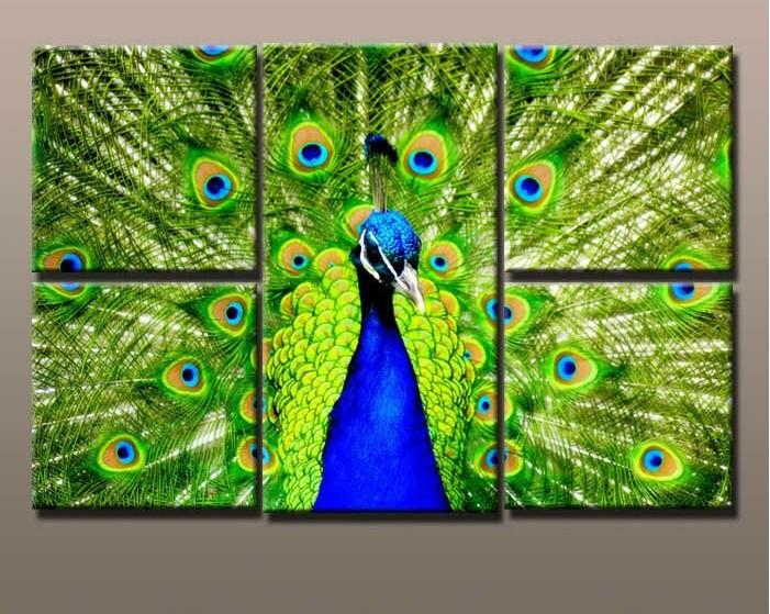 óleo animal da pintura da arte da parede do pavão de Unstretched do grande tamanho 5pcs/set moderno   Repouso DecorationSY403