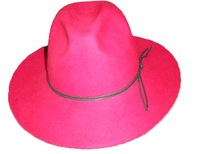 2012-2013Fashion Western cowboy hats with new style and fedora item with strap and black color 100% wool felt