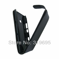 Black Leather Flip Pouch Case Cover Protector For Nokia Lumia 900 (Eloko,Ace,Hydra)