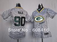 Free Shipping,2013 Newest Green Bay #90 B.J. Raji Football Jersey,Wholesale American Football Jersey,Size M-3XL,Mix Order