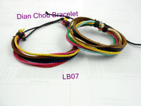 wholesale 50pcs/lot mix diff style handmade LEATHER BRACELET Braided Cord Adjustable Surfer Style Hemp Men's Fashion LB07