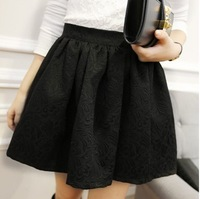 Fashion vintage high waist puff skirt short skirt 2