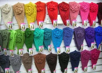 Hechos a mano la venda vendas del ganchillo flor acrílico knit headwrap invierno headwear
