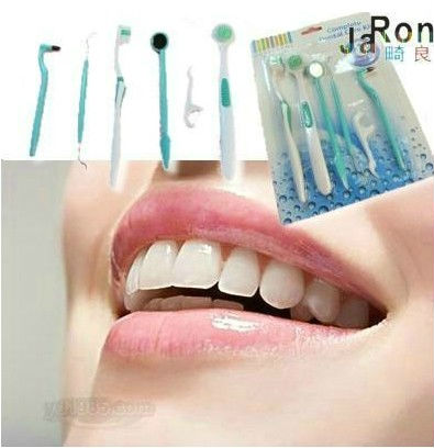 WHOLESALE Oral care kit tooth brush+dental mirror+dental floss interdental brush + dentail stain ereaser, travel supplies(China (Mainland))
