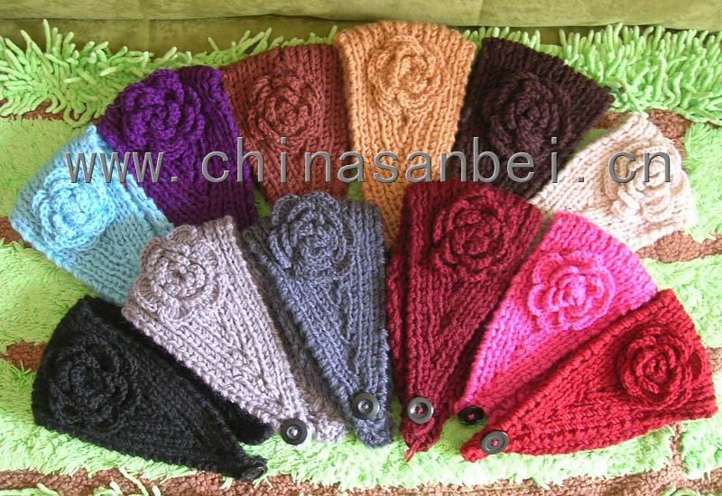 Handmade Headband headbands crochet Flower acrylic knit headwrap winter headwear