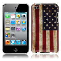 Retro USA Flag Style Plastic Case for iPod Touch 4,Free shipping!