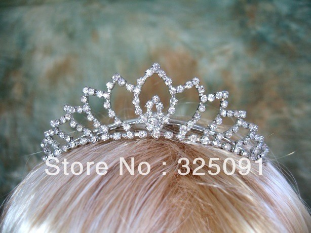 Free Shipping Bridal Wedding Crystal Rhinestone Crown Princess Crowns Tiaras Pageant Homecoming Crystal Tiara Customized Hottest(China (Mainland))