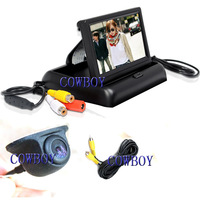 Monitor foldable Rear view camera system Car Reversing Kits with 4.3inch Flip Down Monitor and Mini Camera of 170 Degree